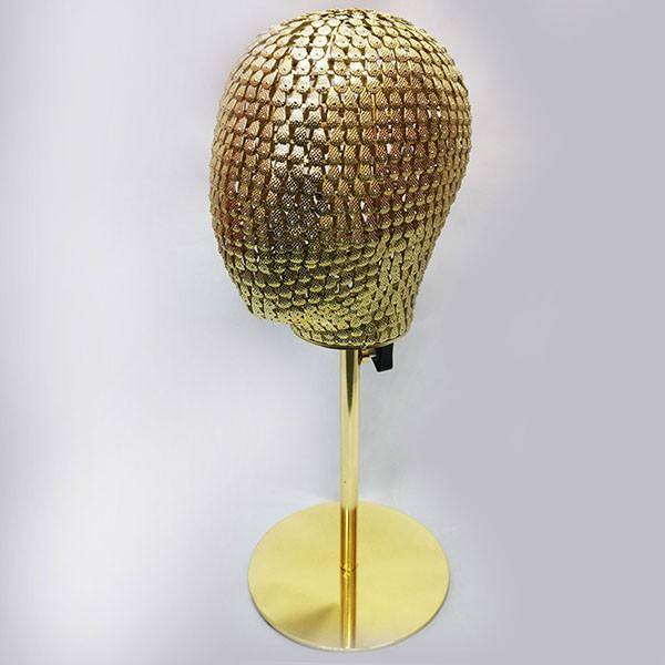 3-G Голова металлическая, на подставке. Цвет: Жёлтое золото